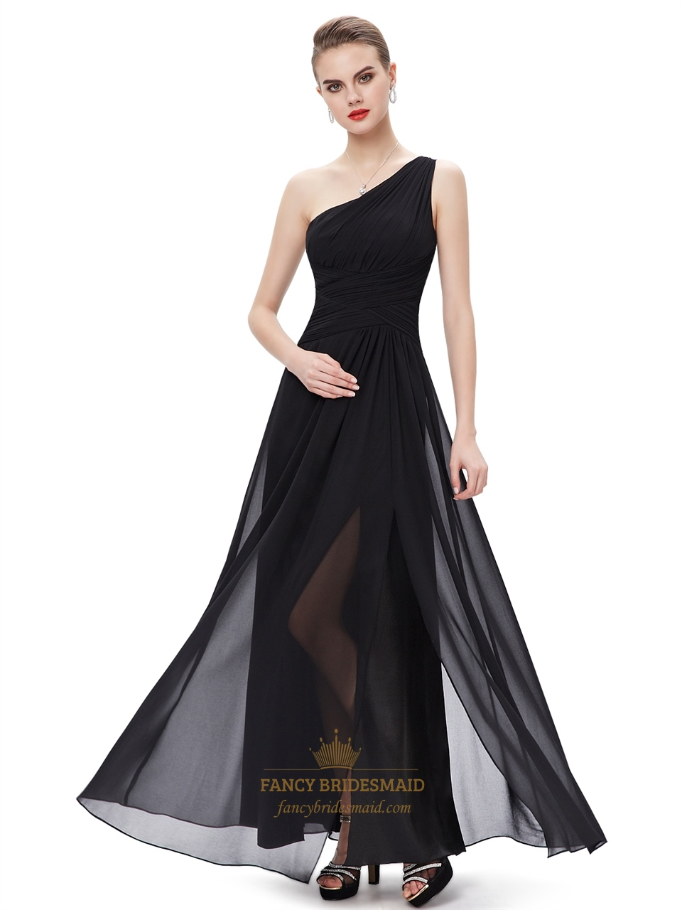 Black Chiffon One Shoulder FloorLength Bridesmaid Dresses