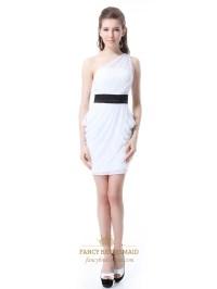 White One Shoulder Sheath Chiffon Short Bridesmaid Dress ...