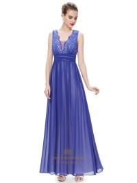 Elegant Royal Blue Chiffon Formal Dresses With Embellished ...