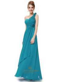 Teal Chiffon One Shoulder Long Bridesmaid Dresses And ...