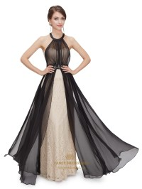 Black And Champagne Halter Bridesmaid Dresses With Beaded ...