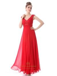 Red Chiffon V Neck A Line Prom Dress With Beaded Neckline ...