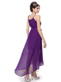 Purple Chiffon Spaghetti Strap Bridesmaid Dresses With ...