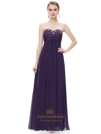 Purple Chiffon Sweetheart Empire Bridesmaid Dresses With ...