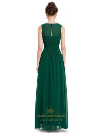 Emerald Green Chiffon Floor Length Bridesmaid Dresses With ...