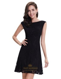 Elegant Black Lace Short Semi Formal Dresses With Cap ...