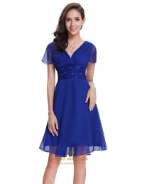 Royal Blue Chiffon V-Neck Knee Length Bridesmaid Dress ...