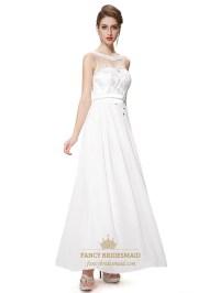 Ivory Chiffon Illusion Neckline Bridesmaid Dresses With ...