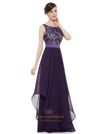 Purple Chiffon Lace Bodice Chiffon Skirt Floor Length