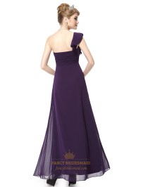 Purple Chiffon One Shoulder Bridesmaid Dresses With ...