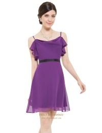 Violet Chiffon Spaghetti Strap Short Bridesmaid Dresses ...
