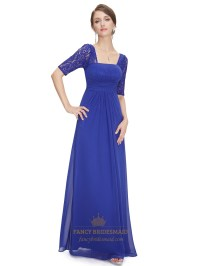 Royal blue bridesmaid dresses with lace