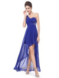 Royal Blue One Shoulder High Low Bridesmaid Dress With ...