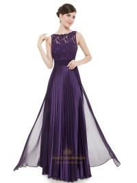 Elegant Purple Lace Illusion Neckline Chiffon Long ...