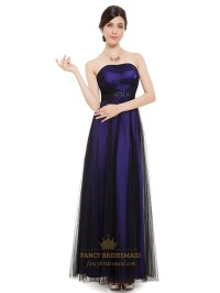 Purple And Black Strapless Tulle Bridesmaid Dresses With ...