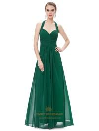 Emerald Green Chiffon Halter Neck Bridesmaid Dresses With ...