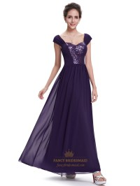 Purple Sweetheart Chiffon Cap Sleeves Bridesmaid Dresses ...