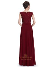 Burgundy Chiffon Cap Sleeves Long Bridesmaid Dresses With ...