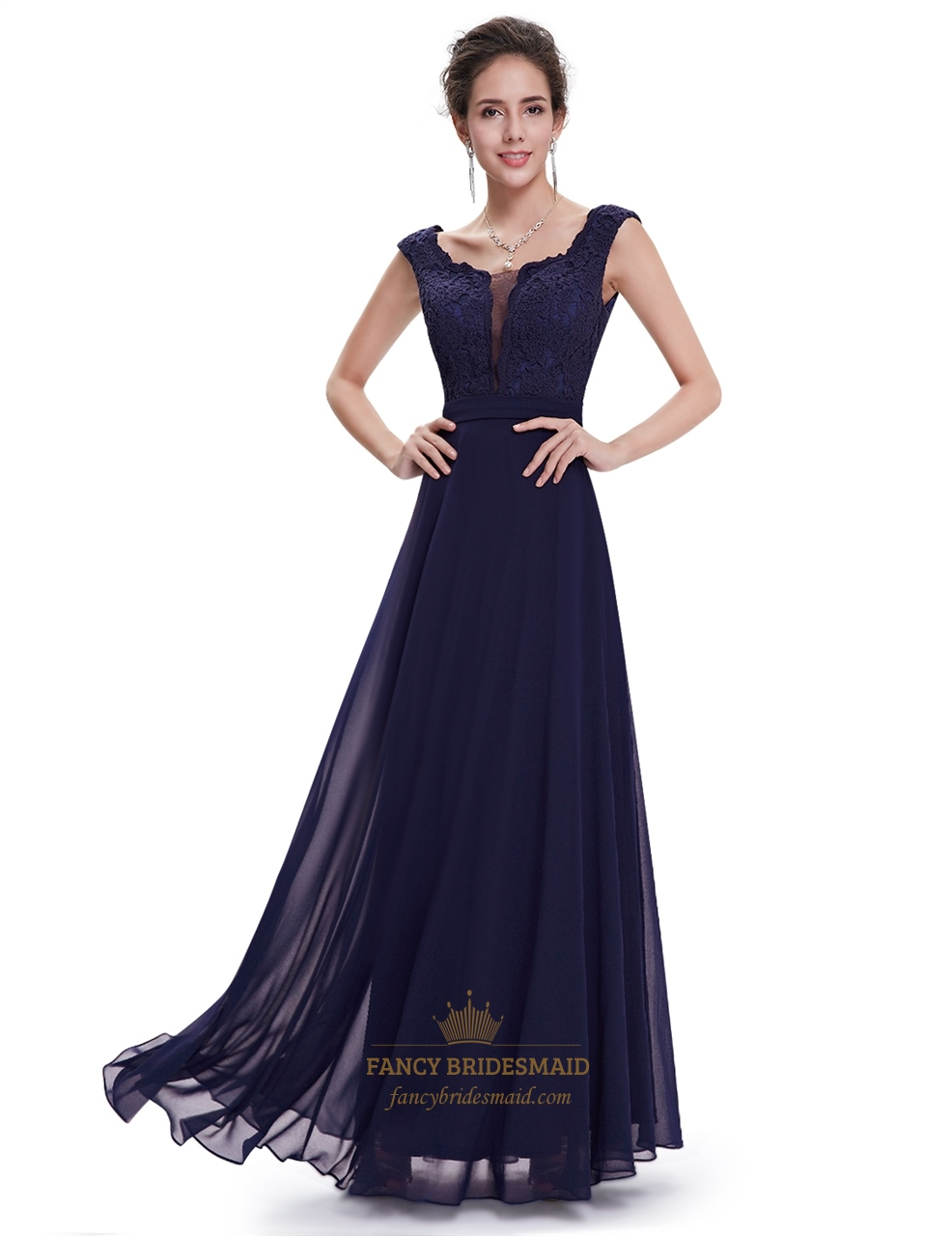 Navy Blue Chiffon Cap Sleeves Long Bridesmaid Dresses With