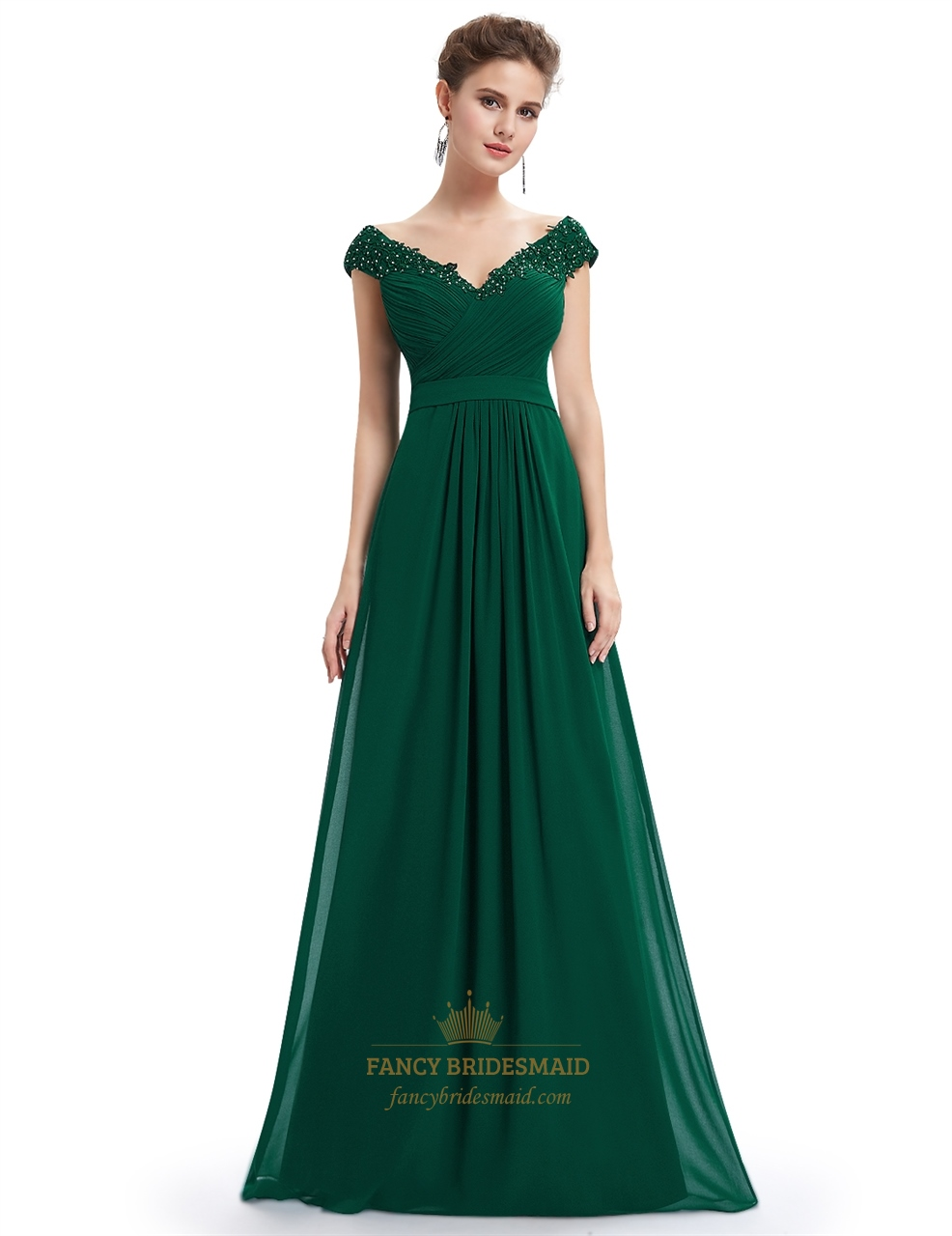 Emerald Green V Neck Bridesmaid Dresses With Beaded Lace