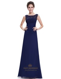 Elegant Navy Blue Chiffon Bridesmaid Dresses Lace Top ...