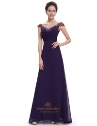 Purple Chiffon V Neck Cap Sleeves Bridesmaid Dresses With ...