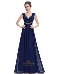 Navy Blue Chiffon Bridesmaid Dresses With Cap Sleeve And ...