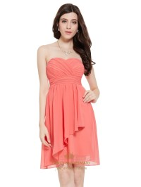 Coral Crinkle Chiffon Short Bridesmaid Dress With Front ...