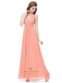 Peach V Neck Chiffon Long Bridesmaid Dresses For Beach ...