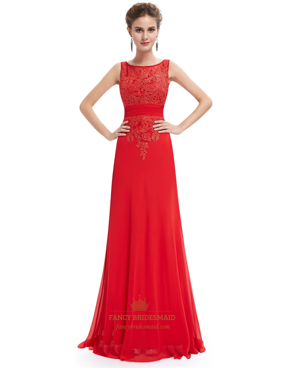 Red Chiffon Open Back Prom Dress With Beaded Lace Applique