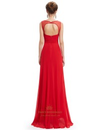 Red Chiffon Open Back Prom Dress With Beaded Lace Applique ...