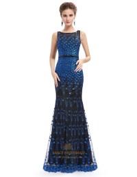 Unique Black And Blue Lace Sheer Illusion Neckline Mermaid ...
