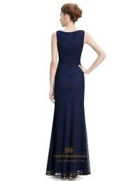 Navy Blue Lace Mermaid Long Bridesmaid Dress | Fancy ...