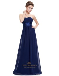 Navy Blue Long Open Back Chiffon Bridesmaid Dresses With ...