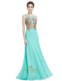 Mint Green Sleeveless Chiffon Prom Dress With Gold Accents ...