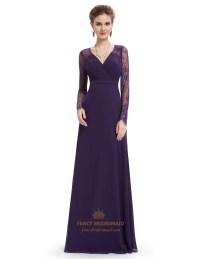 Purple V Neck Lace Long Sleeved Chiffon Prom Dress | Fancy ...