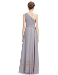 Grey One Shoulder Bridesmaid Desses With Lace Bodice ...