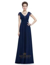 Navy Blue V Neck Chiffon Prom Dress With Ruching In Waist ...