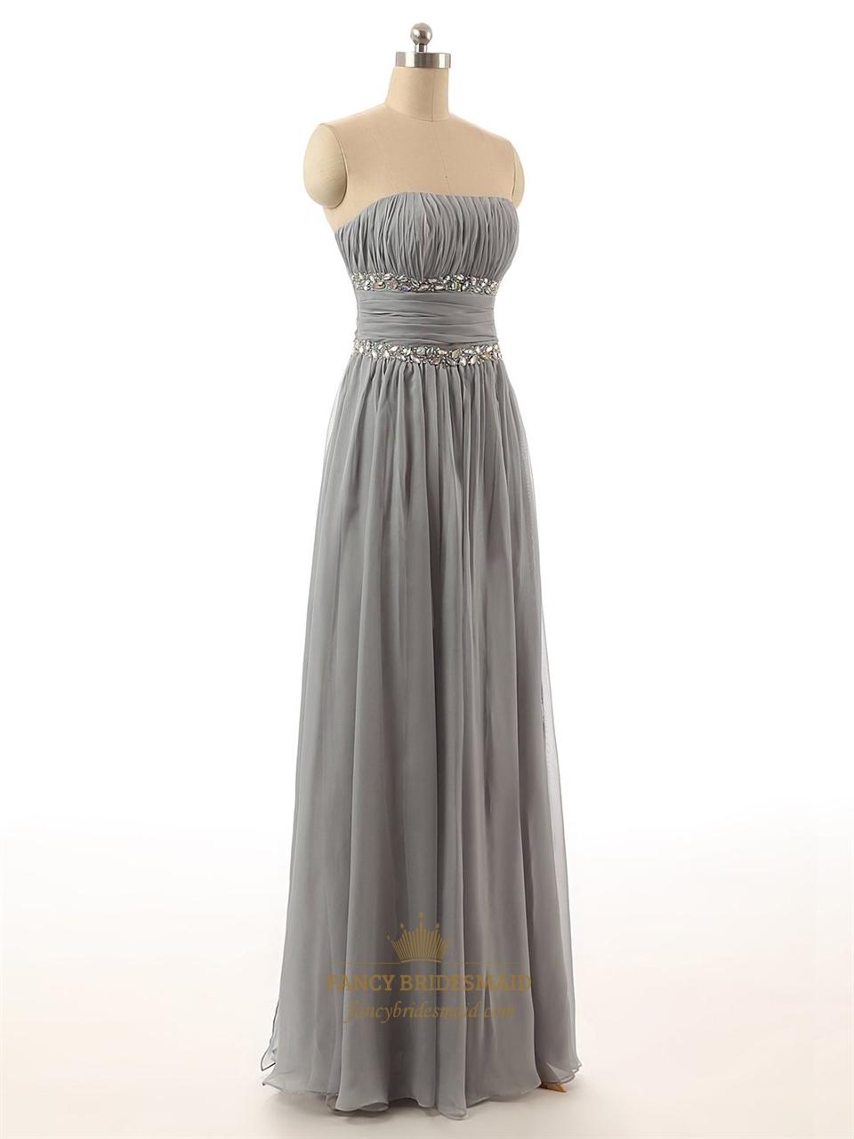 Grey Strapless Crinkle Chiffon Floor Length Bridesmaid