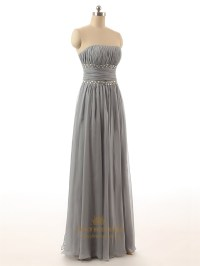 Grey Strapless Crinkle Chiffon Floor Length Bridesmaid