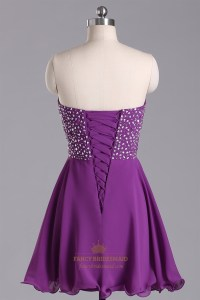 Purple Strapless Beaded Bodice Chiffon Bridesmaid Dress ...