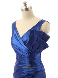 Elegant Royal Blue Short Sleeveless Prom Dress With Ruched ...