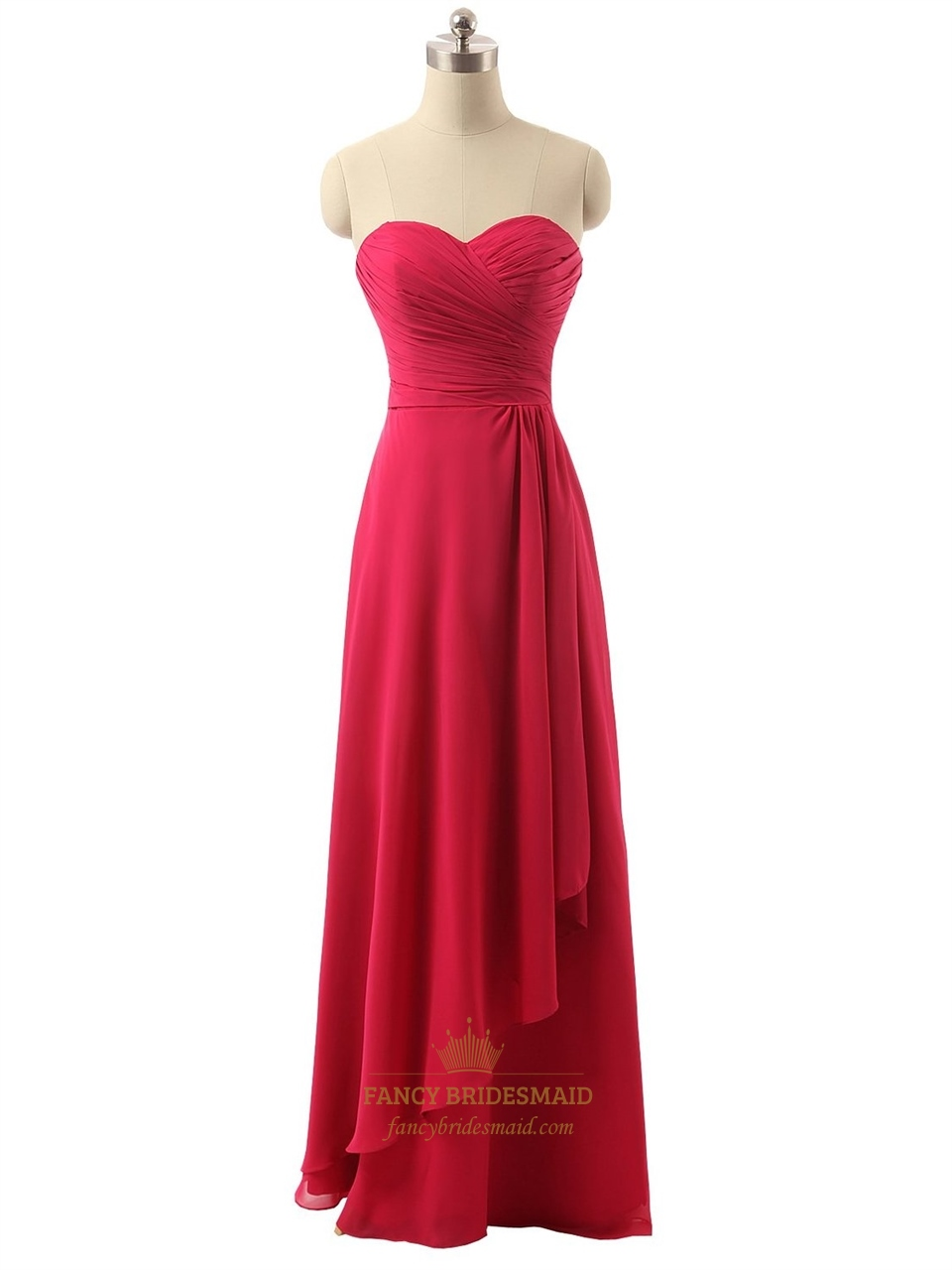 Red Long Strapless Chiffon Pleated Bodice Prom Dress With