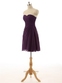 Purple Strapless Pleated A-Line Short Knee Length ...