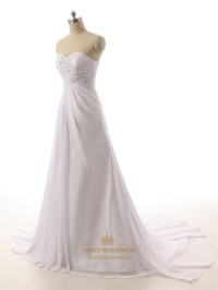 White Strapless Ruched Bodice Sweetheart Neckline Wedding ...
