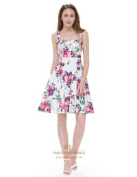 Floral Jacquard Print A-Line Short Fit And Flare Dress ...