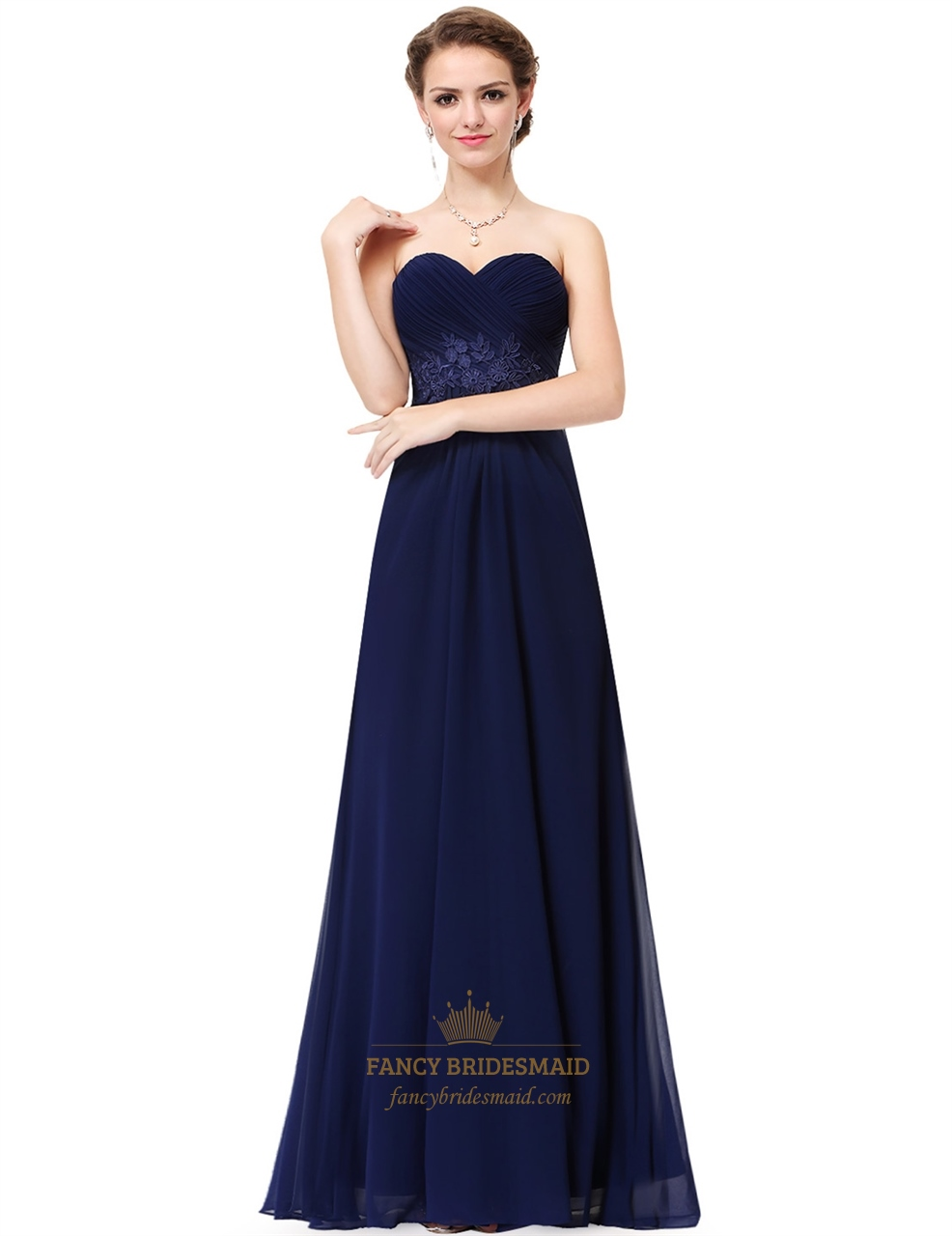 Navy Blue Strapless ALine Long Ruched Chiffon Prom Dress