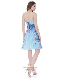 Strapless Floral Short Cocktail Dress With Ruched Bodice ...