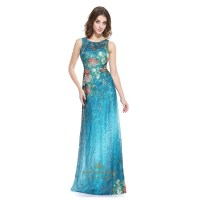 Teal Blue Floral-Print Sleeveless Lace Overlay Embellished ...