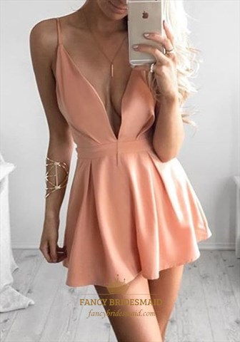 Peach Simple Spaghetti Strap V Neck Short Homecoming Dress  Fancy Bridesmaid Dresses